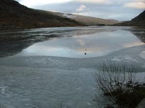 A frozen Llyn Ogwen